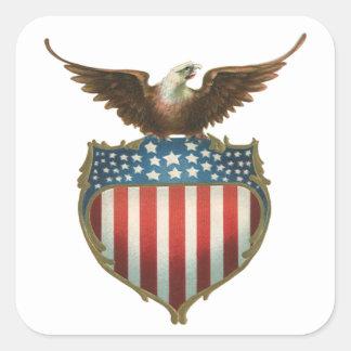Drapeau patriotique et américain vintage avec sticker carré