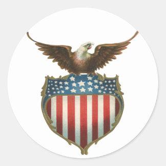 Drapeau patriotique et américain vintage avec Eagl Adhésif Rond