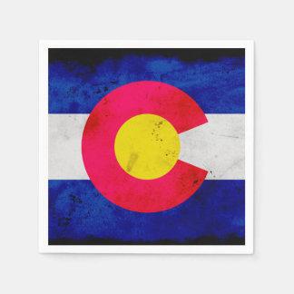 Drapeau patriotique grunge d'état du Colorado Serviette Jetable