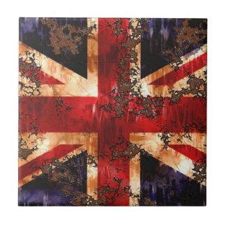 Drapeau patriotique rouillé du Royaume-Uni Petit Carreau Carré