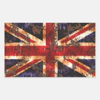 Drapeau patriotique rouillé du Royaume-Uni Sticker Rectangulaire