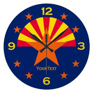 Drapeau personnalisé d'état de l'Arizona sur a Grande Horloge Ronde