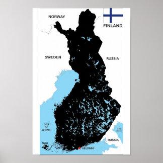 drapeau politique de carte de pays de la Finlande Poster