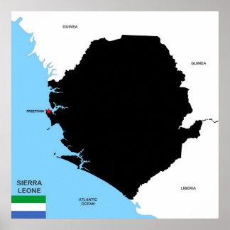 drapeau politique de carte de pays de la Sierra Posters