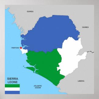 drapeau politique de carte de pays de la Sierra Poster