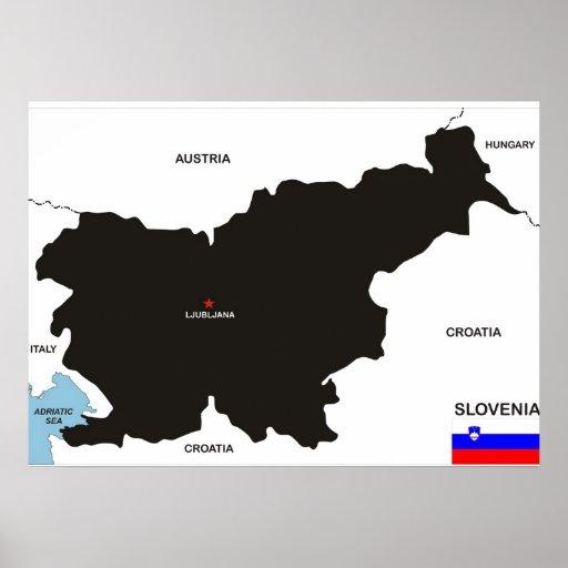 drapeau politique de carte de pays de la Slovénie Affiche