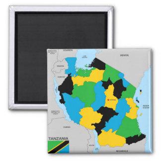 Drapeau politique de carte de pays de la Tanzanie Aimant