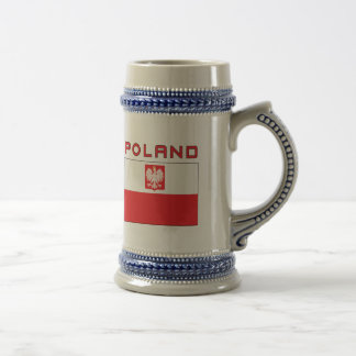 Drapeau polonais de faucon avec la Pologne Chope À Bière