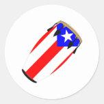 Drapeau Porto Rico de Conga Adhésifs Ronds