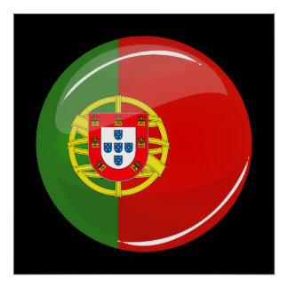 Drapeau portugais rond brillant poster