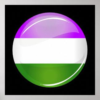 Drapeau rond brillant de Genderqueer Affiche