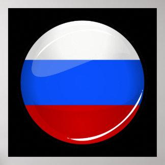 Drapeau rond brillant de la Russie Poster