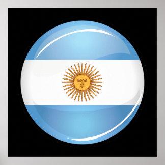 Drapeau rond brillant de l'Argentine Poster