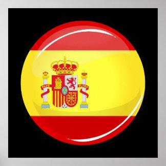 Drapeau rond brillant de l'Espagne Poster