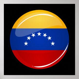 Drapeau rond brillant du Venezuela Poster