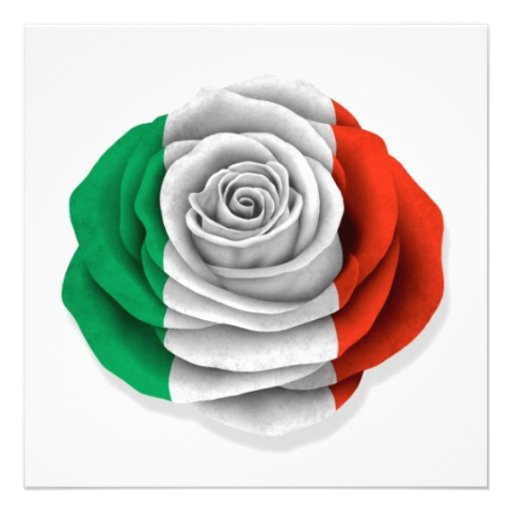 Drapeau rose d'Italien sur le blanc Invitations Personnalisées