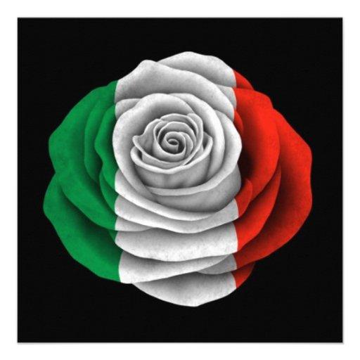 Drapeau rose d'Italien sur le noir Faire-part Personnalisés