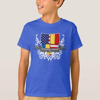 Drapeau Roumain-Américain de bouclier T-shirt