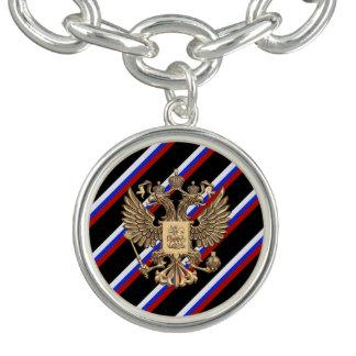 Drapeau russe de rayures bracelet avec breloques