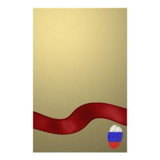 Drapeau russe d'empreinte digitale de contact papier à lettre