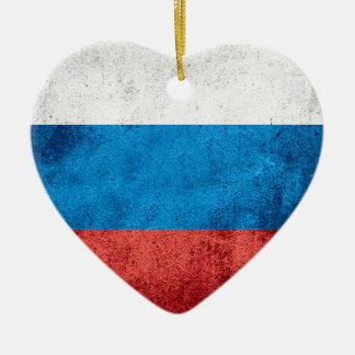 Drapeau russe ornement cœur en céramique