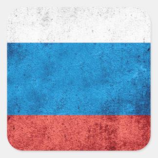 Drapeau russe sticker carré