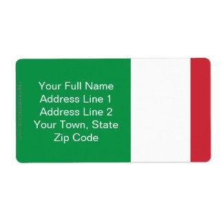 Drapeau simple de l'Italie Étiquette D'expédition