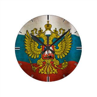 Drapeau soufflant de Russie Horloge Ronde