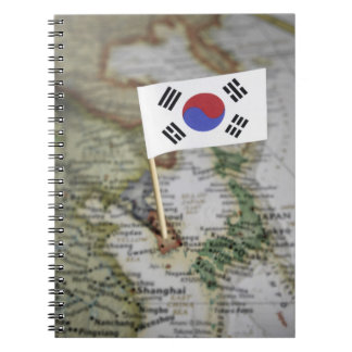 Drapeau sud-coréen dans la carte carnets à spirale