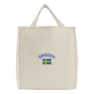 Drapeau suédois dans le bleu et le jaune sac brodé