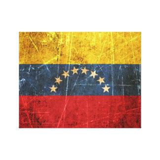 Drapeau vénézuélien vintage rayé et porté toiles