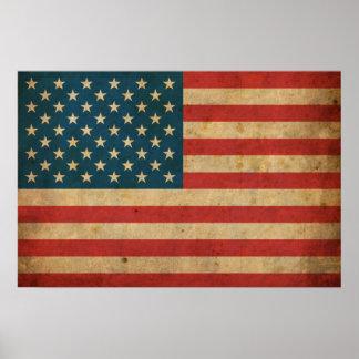 Drapeau vintage de l'Amérique Poster