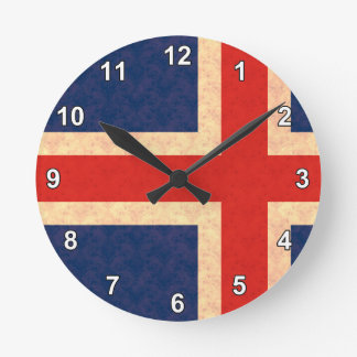 Drapeau vintage d'Islandais de motif Horloge Ronde