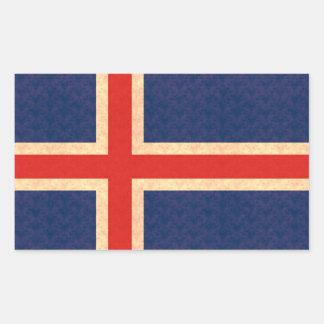 Drapeau vintage d'Islandais de motif Sticker Rectangulaire