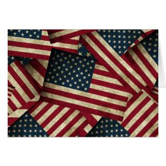 Drapeaux américains affligés carte de vœux