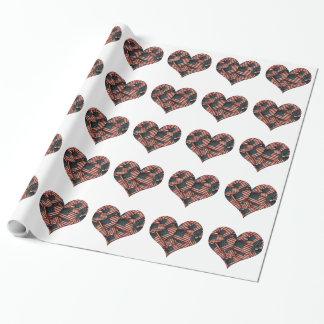 Drapeaux américains affligés en forme de coeur papier cadeau