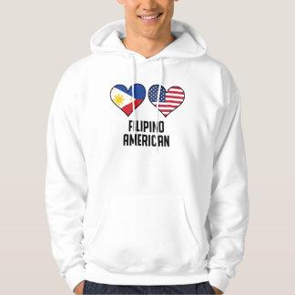 Drapeaux américains philippins de coeur veste à capuche