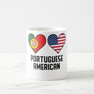 Drapeaux américains portugais de coeur mug