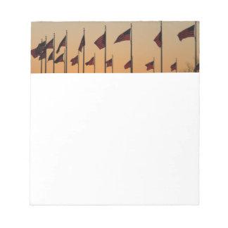 Drapeaux au coucher du soleil I Etats-Unis Blocs Notes