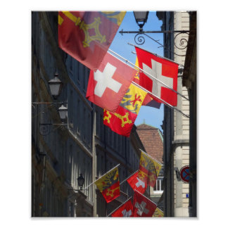 Drapeaux colorés à Genève, Suisse Impression Photo