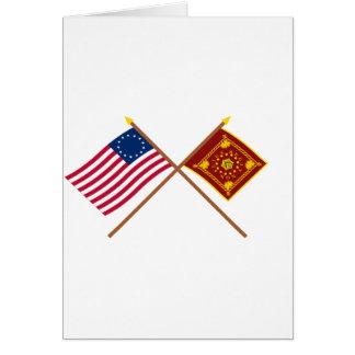 Drapeaux croisés de Betsy Ross et de Pulaski Cartes