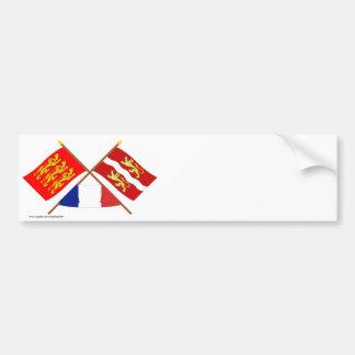 Drapeaux croisés de Haute-Normandie et de Seine-ma Adhésifs Pour Voiture
