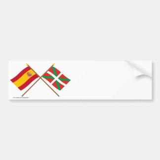 Drapeaux croisés de l Espagne et du País Vasco Eu Autocollants Pour Voiture