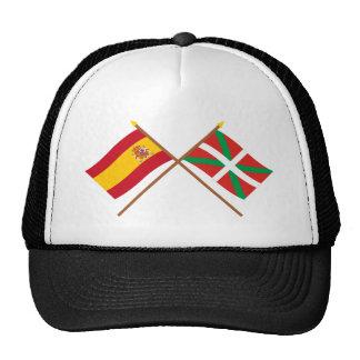 Drapeaux croisés de l Espagne et du País Vasco Eu Casquette De Camionneur