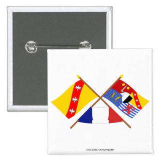 Drapeaux croisés de la Lorraine et de la Moselle Badge Carré 5 Cm