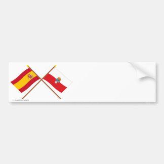 Drapeaux croisés de l'Espagne et de la Cantabrie Autocollant Pour Voiture