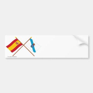 Drapeaux croisés de l'Espagne et de la Galicie Autocollant Pour Voiture
