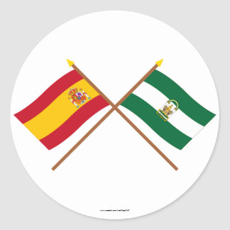 Drapeaux croisés de l'Espagne et de l'Andalucía Sticker Rond