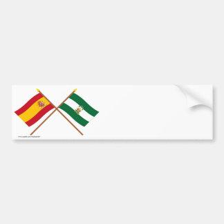 Drapeaux croisés de l'Espagne et de l'Andalucía Autocollant Pour Voiture