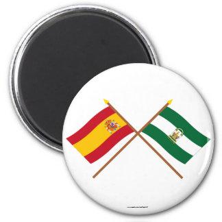 Drapeaux croisés de l'Espagne et de l'Andalucía Magnet Rond 8 Cm